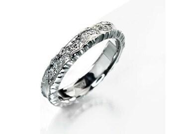 Unique wedding band, unique diamond wedding band, forged wedding ring, contemporary wedding ring, alternative half eternity ring