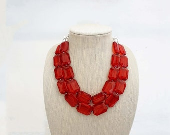 Ruby Red Faceted Gem Statement Necklace