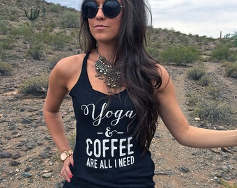 Coffee Shirt. Ok But First Coffee. Yoga-And-Coffee-Racerback. Yoga Racerback. Gift For Yoga Lover. Ok But First Yoga.