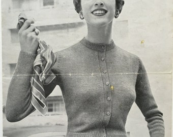 Vintage Knitting Pattern by Jaeger Cardigan 1950s