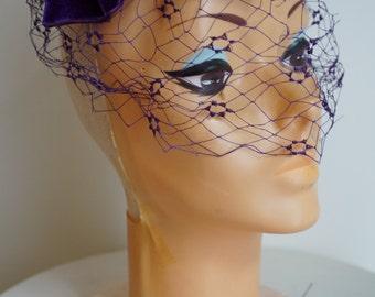 I. Offell San Francisco, Blusher Veil, Vintage 1940s Hat, Vintage Veil Hat, 1940s Veil Hat, Vintage Velvet Hat, Velvet and Lace, Purple Hat