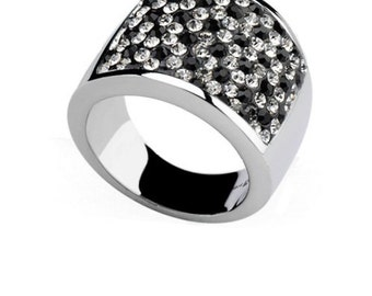 Black and White Stainless Steel Ring
