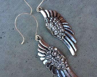 ON SALE- CLEARANCE, Statement silver & rhinestone angel wing earrings, angel wings jewelry, bling jewelry, angel wing earrings, gift for her