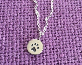 Pet Jewelry Necklace - Dog Cat Necklace - Sterling Silver Necklace - Dog Cat Jewelry - Delicate  Jewelry - Tiny Charm Pendant Necklace