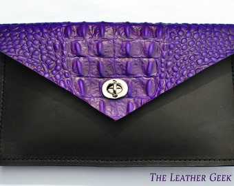 Purple alligator embossed leather envelope clutch, embossed alligator, purple clutch, leather clutch, biker clutch, burning man purse,