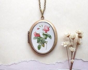 Vintage Botanica Rosa Locket - Floral Plate Illustration - Rose Necklace
