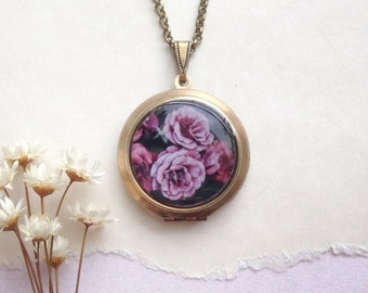 Mauve Roses Locket - Purple Blossom Necklace - Night Garden Photography Pendant