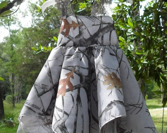 Elegant White  Spring to fall Camo & gray Lace with matching camo sheer handkerchief sundress. Comes with matching hairclip