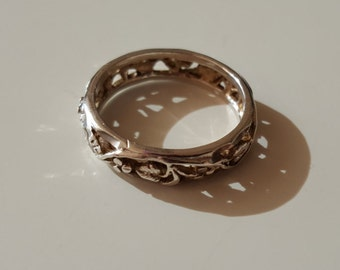 925 Sterling Silver Vintage Leafs carved band Ring, size 7.5