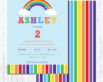 Rainbow Birthday Invite - Colorful Birthday Invitation - Picnic Birthday Party Invite - #002