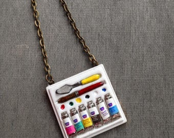 Paint Palette, Artist Necklace, Painting Paint Board, Paint Box Miniature Charm, Handmade, Antique Bronze Brass Chain, Unique Gift idea