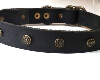 Black Soft Leather Dog Collar - Studded Buckle Collar - Handmade dog collar with copper colored studs - Size M