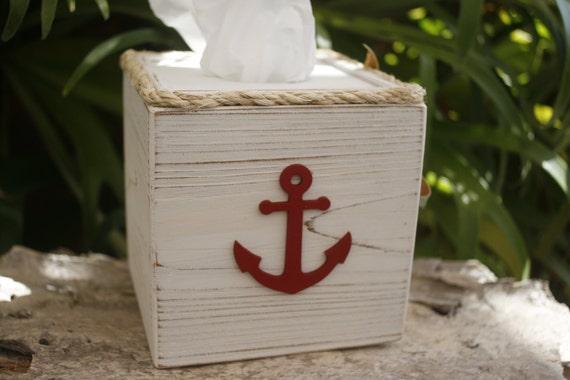 Tissue kleenex cube box cover nautical anchor bathroom decor - Beach themed tissue box cover ...