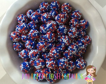 20mm USA Confetti Jelly Red White Blue Rhinestones Chunky Bubble Gum Beads Set of 10
