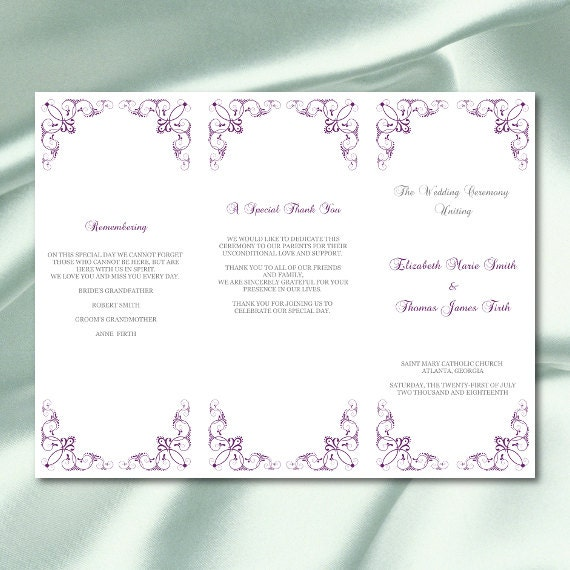 trifold wedding program printable or folded trifold invitation