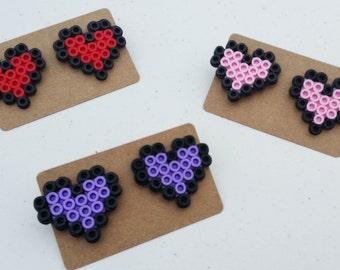 8bit Heart Earrings - 8bit heart, earrings set, pixel heart, geeky jewelry, retro wedding, 8 bit heart, pixel jewelry, pixel earrings, heart