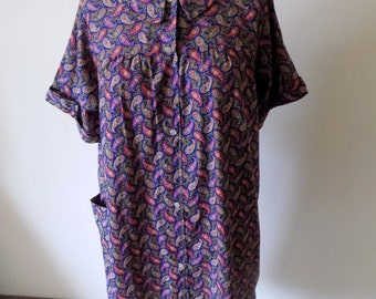 70s House Dress, Rainbow Fashions, Paisley, Shift Dress, 1970s, House Dress, Front Pockets, Size M, Cover Up, Womens Vintage Clothing