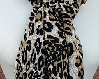 Camel, White and Black Leopard Animal Print Scarf / Fabric Scarf /  Gift for Her / Gift Ideas.