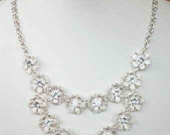 Two Strands Silver Flowers White and Crystal Clear Necklace / Bib Necklace.