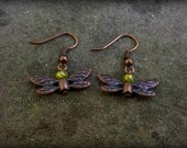 Copper Faery Earrings (Green Glass)