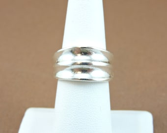 Size 7 Sterling Silver Chunky Ribbed Wide Band Ring