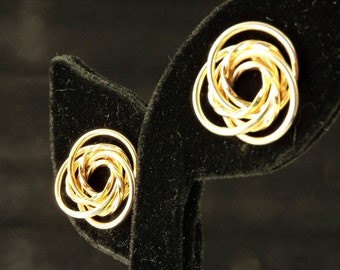 14k Yellow Gold Rosette Earrings