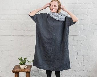 Linen tunic/dress. Washed linen kimono tunic. Oversize linen dress