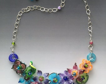 secret garden necklace handmade glass lampwork beads with sterling silver components multicolor