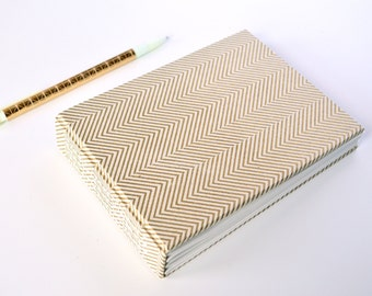 "Simple Handmade Notebook || Gold Chevron || Journal, Diary, Sketchbook || 6"" x 4.5"" x 1"" 