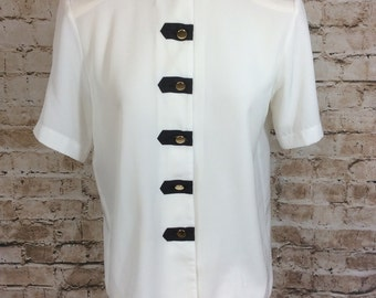 Vintage Blouse Military Look Short Sleeve Cream Black By Sixth Sense Size 10 c1980s