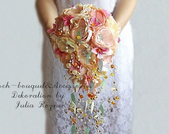 Cascading Wedding Brooch bouquet. peach and pink wedding brooch bouquet, Jeweled Bouquet