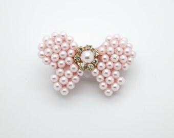 Pearl Bow Hair Clip, Bow Hair Clip, Pearl Baby Hair Clip, Flower Girl Hair Clip, Baptism Hair Clip, Light Pink Hair Clip, 1485