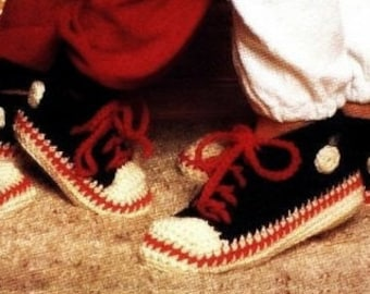Converse Slippers Pattern Baseball Slipper Pattern Crochet Slipper Pattern Crochet womens slippers crochet kids slipper shoes Vintage 70s