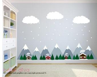 berg wandtattoo wand aufkleber kinderzimmer von bebedivaboutique. Black Bedroom Furniture Sets. Home Design Ideas