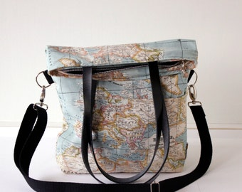 Shoulder bag 'World map', handmade in canvas and cotton, with leather straps