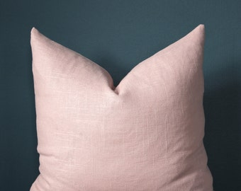 Blush Pink Pillow Cover - Rose Quartz Pillow Cover - Designer Pillows - Pink Linen Pillow - Trendy Pillow Cover - Blush Nursery - Valentine