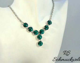 Y chain Emerald Necklace Crystal, statement, Crystal Emerald, Bridal necklace, wedding, engagement, gift, bridesmaid, favourite colour,