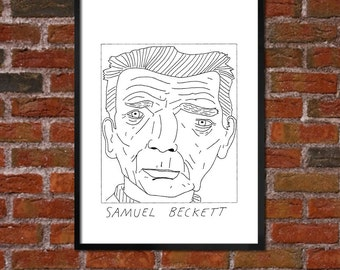 Badly Drawn Samuel Beckett - Literary Poster - *** BUY 4, GET A 5th FREE***