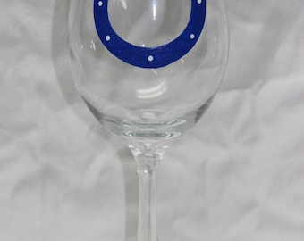 Hand Painted Indianapolis Colts Wine Glass
