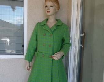Amazing Original Vintage 1960's Woman's Coat ~ Turquoise And Lime Green Wool Tweed Coat, Yellow Lining, Size Large, Union Made, In The USA