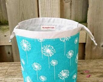 Sock Knitting Bag in Dandelion print, Knitting Project Bag for two at a time sock knitting, Drawstring Tote Bag - Small Socksack