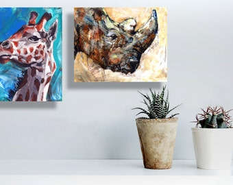 african art, set of prints, animal prints jungle, giraffe room decor, african painting, Rhino, giraffe, Oil Painting, canvas, for him, 5x7