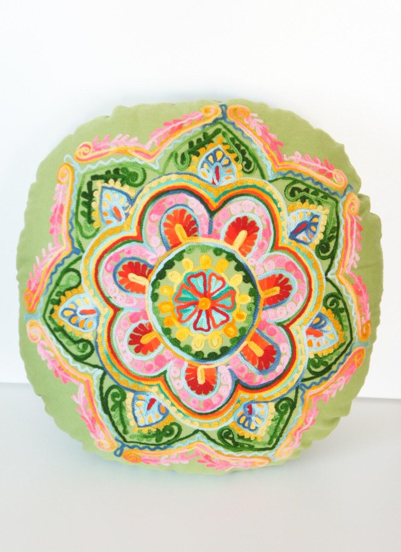Green Turkish Round Decorative Pillow Boho by prettysurprise