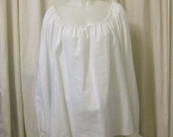 White Cotton, Long Sleeve, Pirate Peasant Blouse, Size L/XL