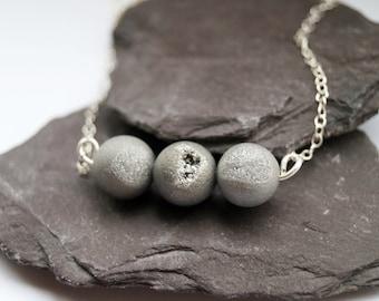 Grey Drusy Agate Sterling Silver Necklace ~  silver, gemstone, modern, minimal, bridesmaid, wedding, unique, monochrome, druzy, drusy, moon