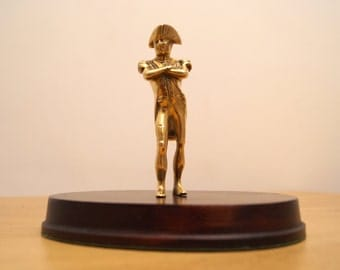 Vintage Solid brass Napoleon statue / figurine on the wooden base