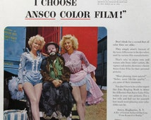 1954 Ansco Color Film Ad - Emmet Kelly, Famous Circus Clown - Ringling Brothers Barnum & Bailey Circus Performers - 1950s Vintage Print Ad