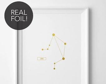 Libra Print, Real Foil Print, Gold or black Foil Print, Constellation Art, Constellation Print, Simple, Clean, Foil Constellation