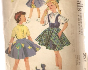 VINTAGE McCall's Sewing Pattern 2021 - Children's Clothes - Girl's Skirt, Jumper & Vest, Size 4