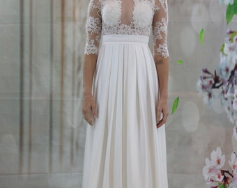 Sexy Lace Applique chiffon bridal gown, wedding dress